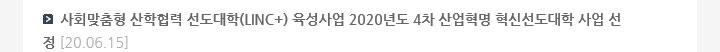 사회맞춤형 산학협력 선도대학(LINC+) 육성사업 2020년도 4차 산업혁명 혁신선도대학 사업 선정